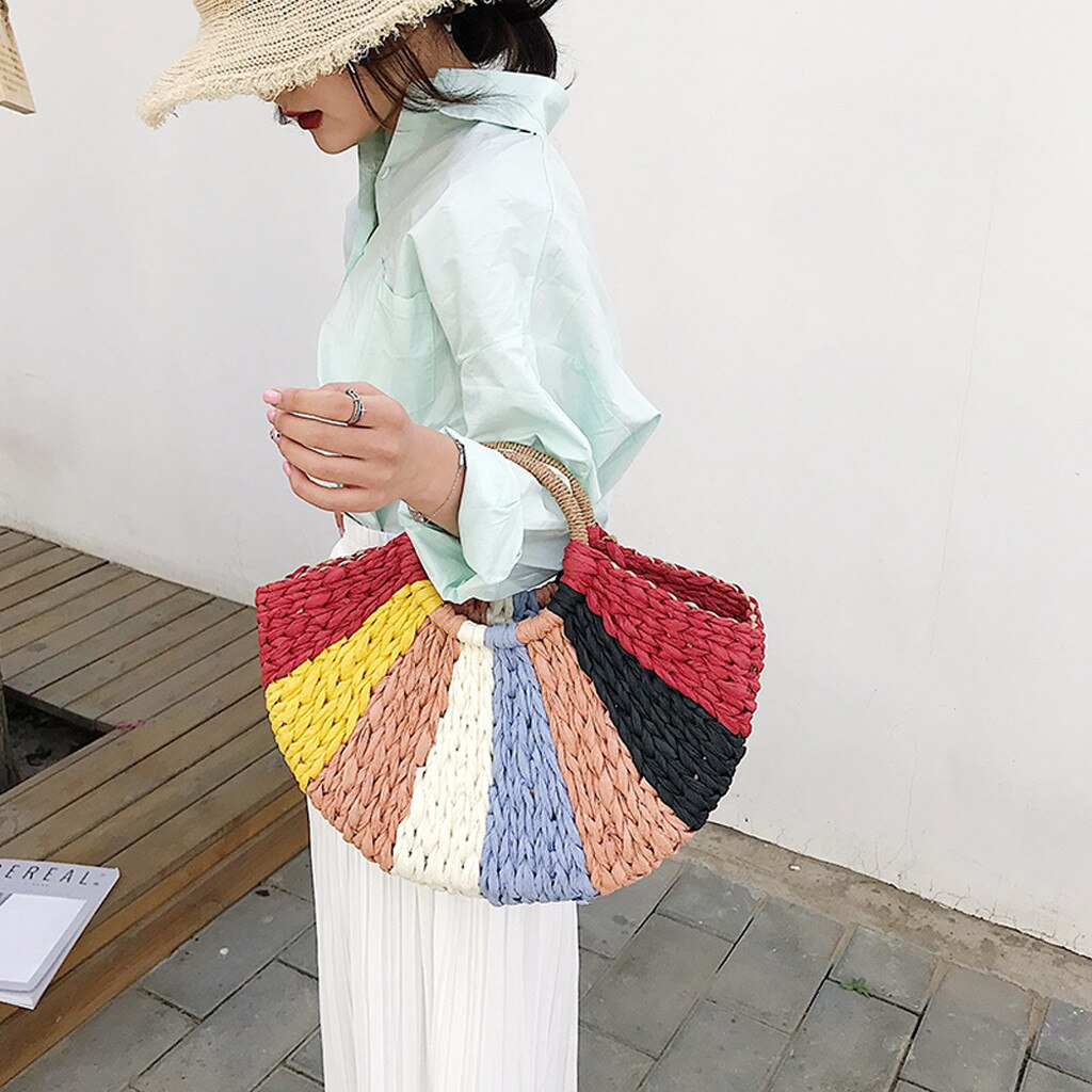 Women's Handbags Straw Bag Color Bohemia Beach Bag Seaside Travel Woven Handbag bolsa feminina