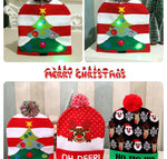 LED Christmas Beanie Ugly Christmas Sweater Christmas Hat Beanie Light Up Knitted Hat for Children Adult Christmas Party