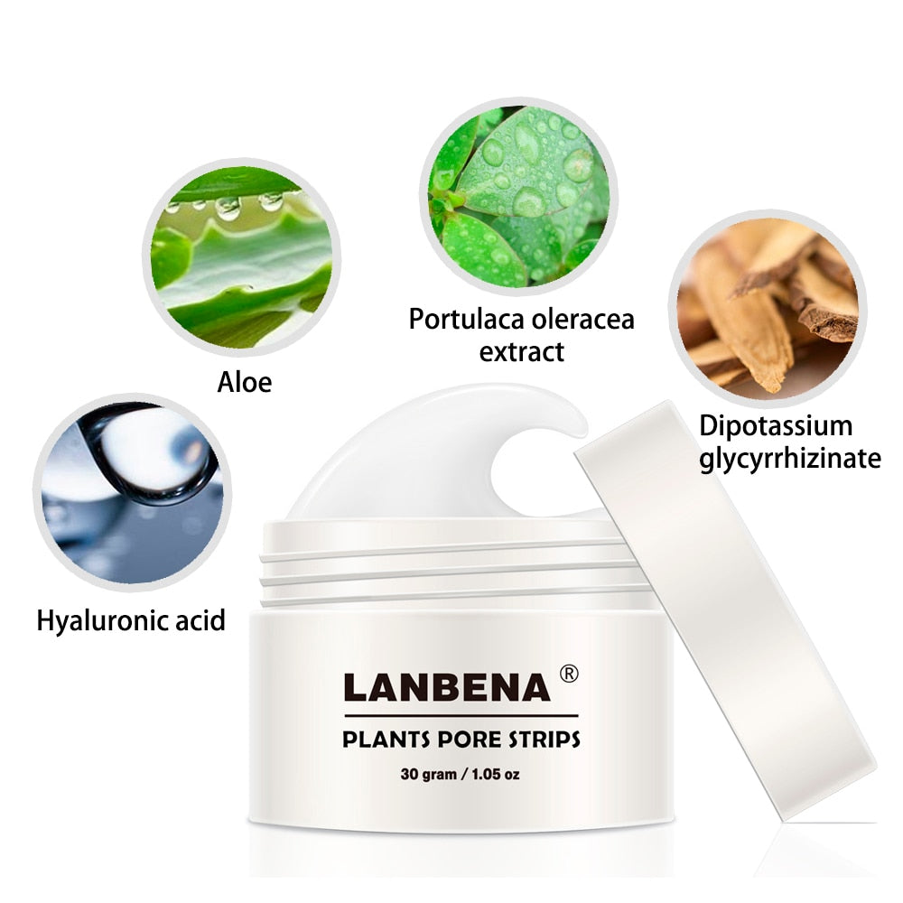 60pcs paper LANBENA Blackhead Remover Nose Mask Pore Strip Black Mask Anti Acne Treatment Black Deep Cleansing Skin Care TSLM1