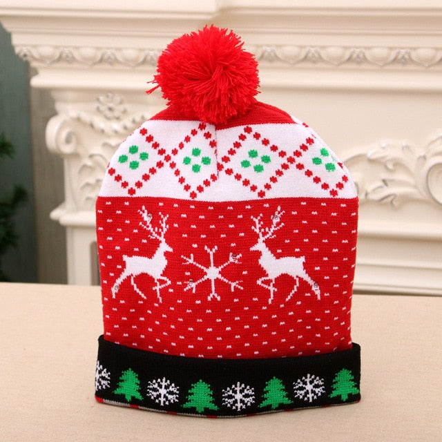 Christmas Tree LED Hat Light Up Knitted Santa Claus Hat for Children Adult Christmas Sweater Ugly Christmas Beanie New Year Gift