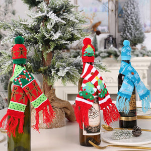 Knitted Ugly Sweater Christmas Wine Bottle Cover Set Scarf And Hat For Xmas Holiday Dining Table Decor Gift Wrapping
