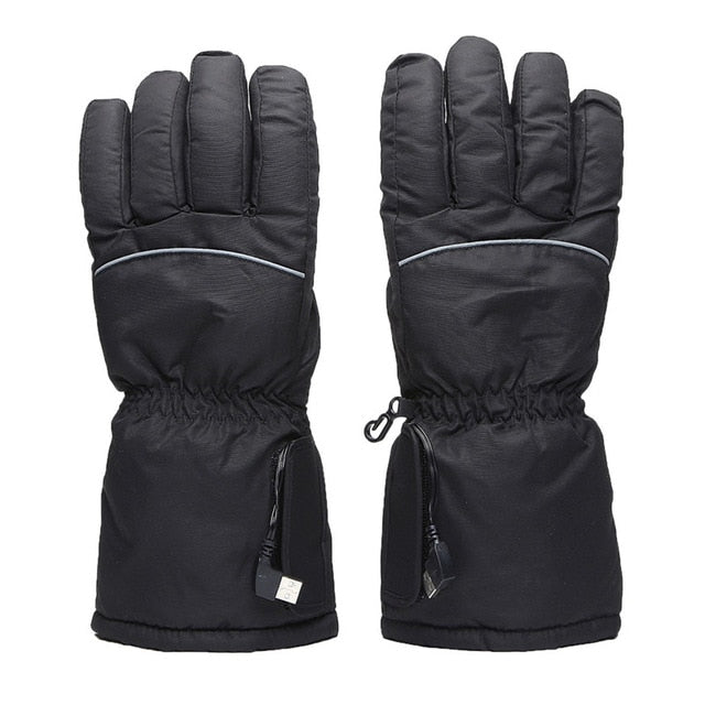 Winter Man Women Ski Gloves Usb Electric 5th Battery Heating Outdoor Hot Finger Gloves Ski Thick Heating Gloves Can Be Washed