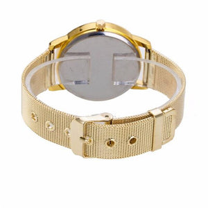 relogio masculino Fashion Women Crystal Golden Stainless Steel Analog Quartz Wrist Watch Bracelet