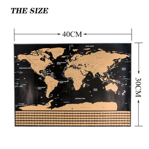 Home Decor Arts & Crafts DIY Large World Flag Travel Map Poster Scratching Toy Easy Scratch Gold Foil Painting Wall Hanging Decor Kid Playing Scratch off Toy