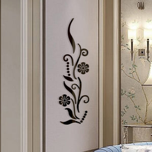 Home Decor Arts & Crafts DIY Flower Bathroom Acrylic Mirrored Decorative Sticker Wall Art Mirror Room Living Room Bedroom TV Wall Home Decals Wall Decor