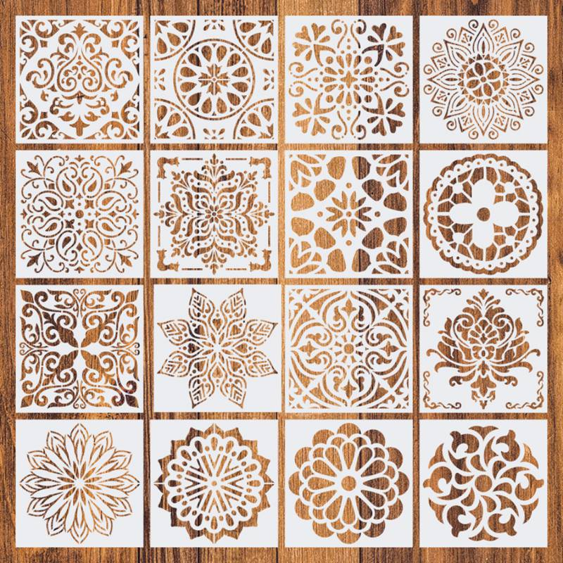 Home Decor Arts & Crafts DIY 16pcs/set Reusable Stencil Cut Painting Template Floor Wall Tile Fabric Furniture Stencils Mandala Painting Stencils