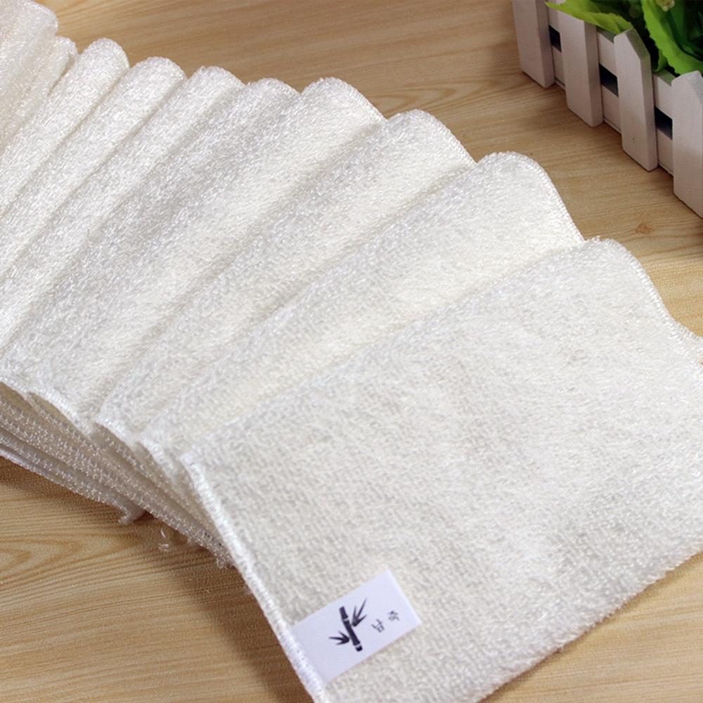 New 18x16cm 5 Pcs Banboom Fiber High Efficient Anti-grease Dish Cloth Bamboo Fiber Washing Towel Magic Kitchen Cleaning Wiping