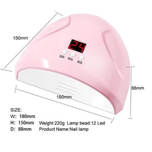36W UV LED Nail Lamp with 12 Pcs Leds For Women Manicure Gel Nail Dryer Drying Nail Polish Lamp Manicure Tools
