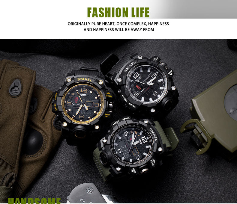 Men Military Watch 50m Waterproof Wristwatch LED Quartz Clock Sport Watch Male 1545 Sport Watch Men S Shock Army