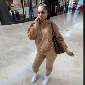 Echoine Winter Fur Two Piece Outfits Sexy Hooded Pants Suit Tracksuit Sportwear With Pocket Jogging Femme lounge wear Outfits