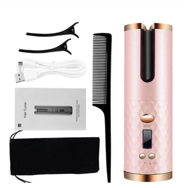 Hair Curlers Electric Cordless Automatic Hair Curler Iron Wireless Curling Iron USB Rechargeable Air Display Temperature Ceramic