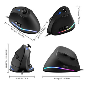 ZELOTES Vertical Gaming Mouse Programmable USB Wired RGB Optical Mouse 11 Buttons 10000 DPI Adjustable Ergonomic Gamer Mice
