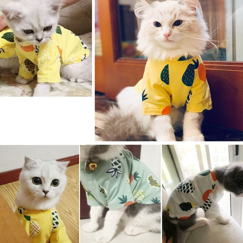 Pineapple Animals Puppy Dog Summer Cat Dresses For Yorkies Chihuahua Clothes Soft Cotton Pet Dog Clothes Cats T-shirt!