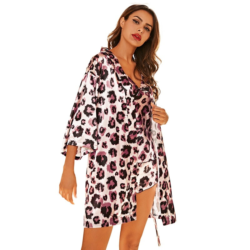 Women Pajamas Sets Satin Sleepwear Silk 3 Pieces Nightwear Pajama Spaghetti Strap Lace Sleep Lounge Pajama