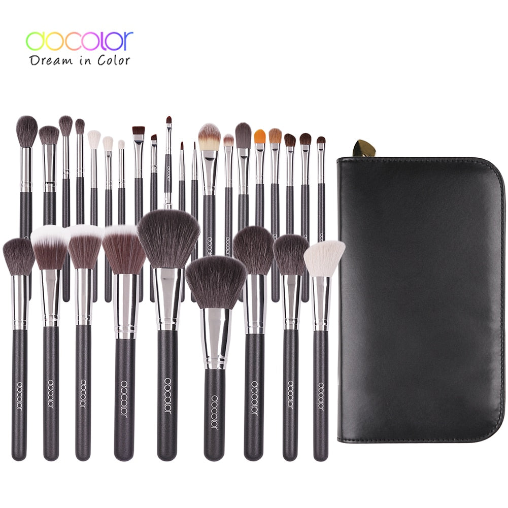 Docolor Make up Brushes 29pcs Professional makeup brush Set With Case Top nature bristle and synthetic hair makeup brushes set