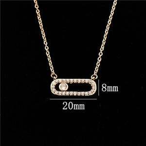 50% OFF V Attract Rose Gold Jewelry CZ Love Long Bar Choker Necklace Women Men Jewelry
