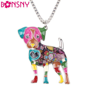 50% OFF Bonsny Statement Metal Alloy Jack Russell Dog Choker Necklace Chain Collar Bulldog Pendant Fashion New Enamel Jewelry  Women
