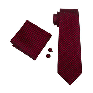 Mens Tie 100 percent Silk Red Plaid Jacquard Woven Wedding Tie Hanky Cuff links Set Neck Tie For Men Business Party