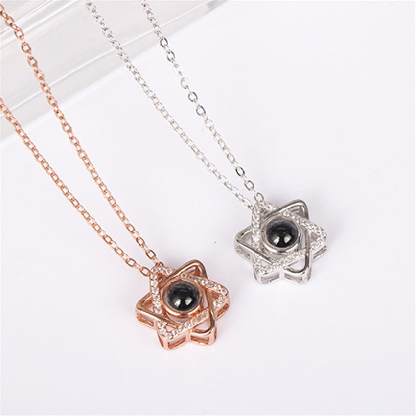 50% OFF CZ Star Pendant Necklaces  Women Stainless Steel Chain 100 languages I love you Projection Necklace Rose Gold Colar BFF Jewelry