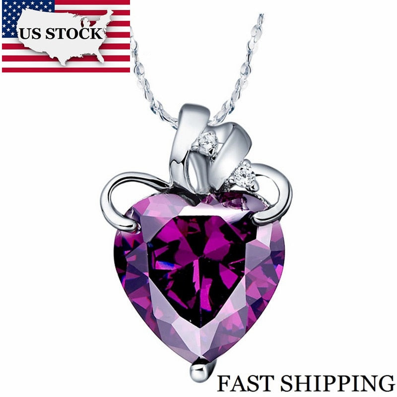 US STOCK Fashion Pendants Jewelry Necklace Heart Pendant Purple Blue Cubic Zirconia Crystal Suspension Uloveido