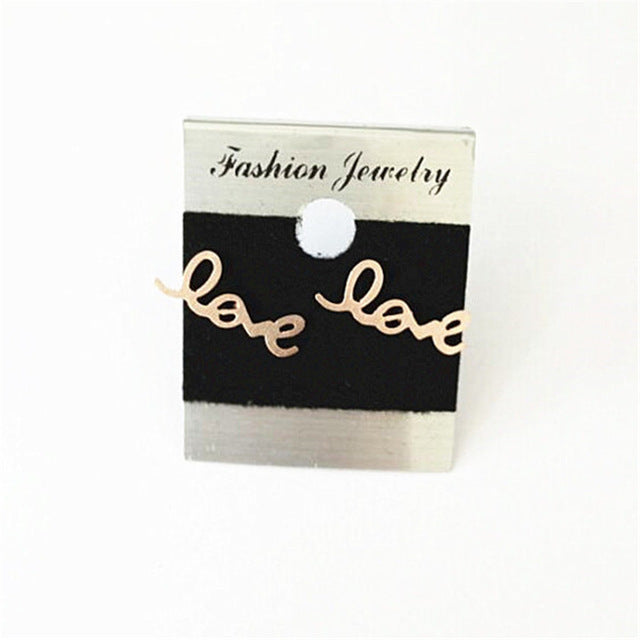 Women Girls Vintage Jewelry Set Letter Love Charm Bracelets Bangles Stainless Steel Rose Gold Chains Necklaces Gifts For Lovers