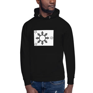 Black & White 3 Stars and a Sun Design Unisex Hoodie