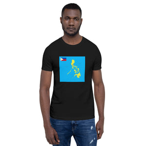 YELLOW PHILIPPINE MAP WITH PHILIPPINE FLAG DESIGN Short-Sleeve Unisex T-Shirt