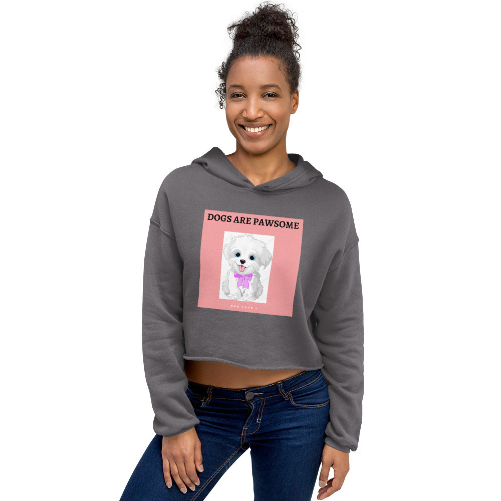 """ DOGS ARE PAWSOME "" DOG DESIGN Crop Hoodie"