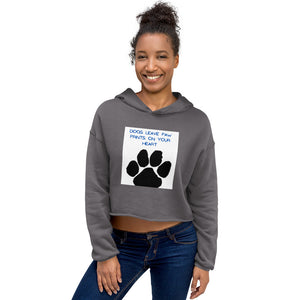 """ DOGS LEAVE PAW PRINTS ON YOUR HEART "" DOG DESIGN Crop Hoodie"