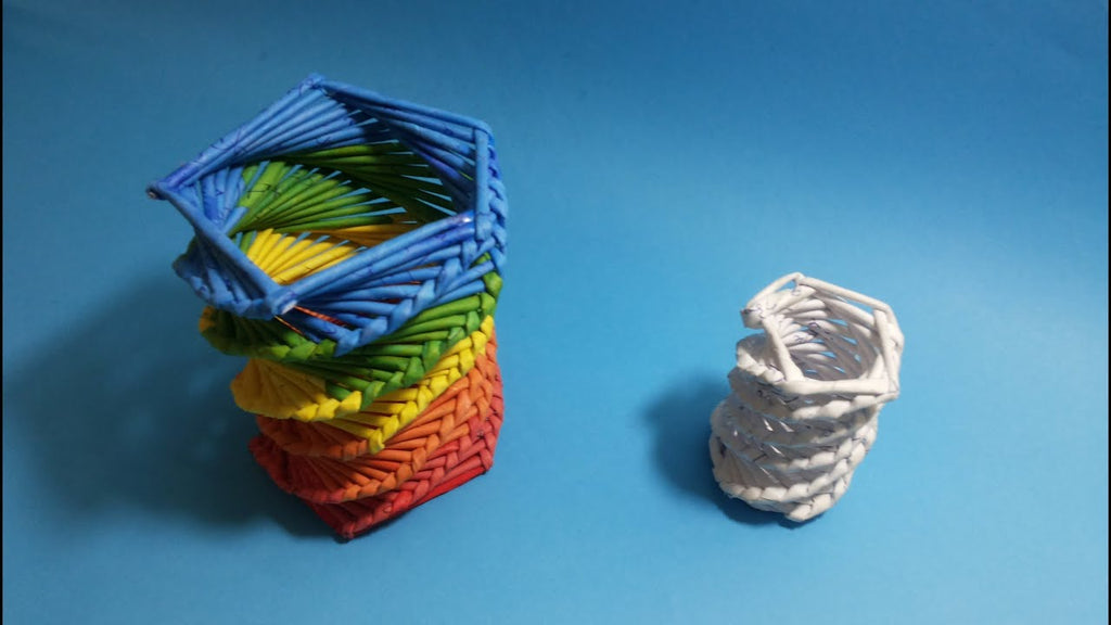 Make a colorful pen and pencil holder using waste material