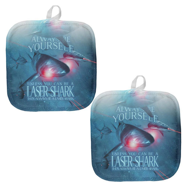 Always Be Yourself Unless Laser Shark All Over Pot Holder (Set of 2)