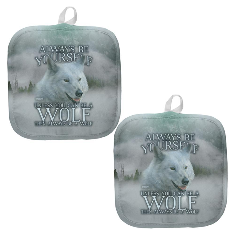 Always Be Yourself Unless White Wolf All Over Pot Holder (Set of 2)