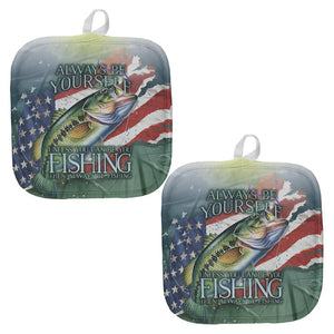 4th of July Always Be Yourself American Fishing Pot Holder (Set of 2)