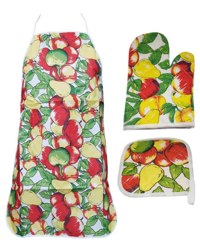 Mango Printed Kitchen 3 Piece Suit Apron, Oven Mitt and Pot Holder