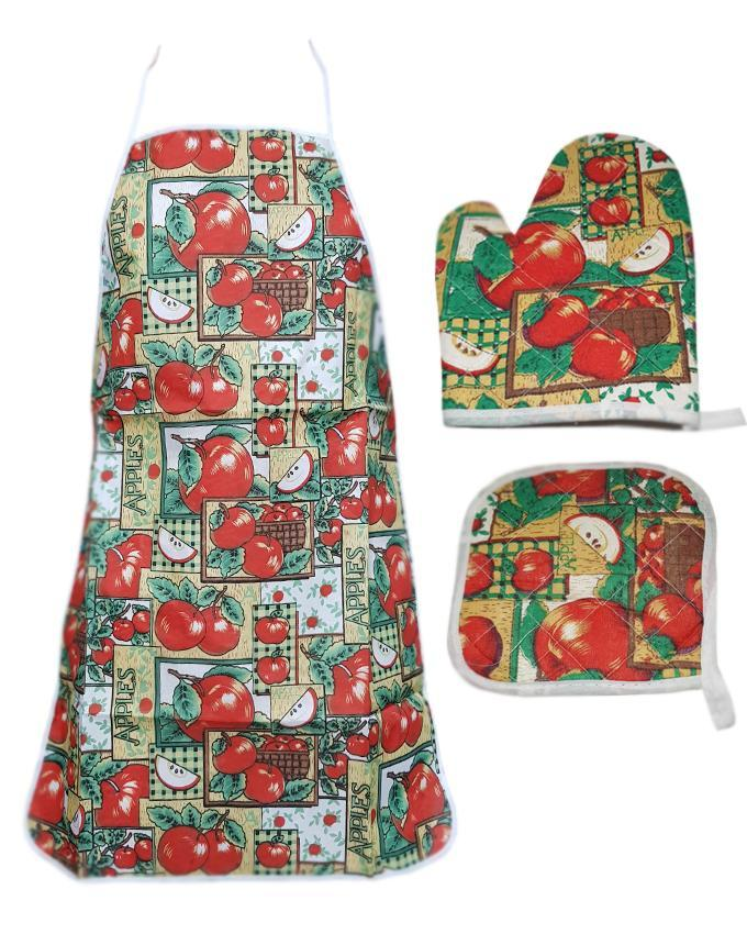Apple Printed kitchen 3 Piece Suit Apron, Oven Mitt and Pot Holder
