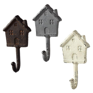 Antique Weathered Cottages Wall Hooks - Set of 3