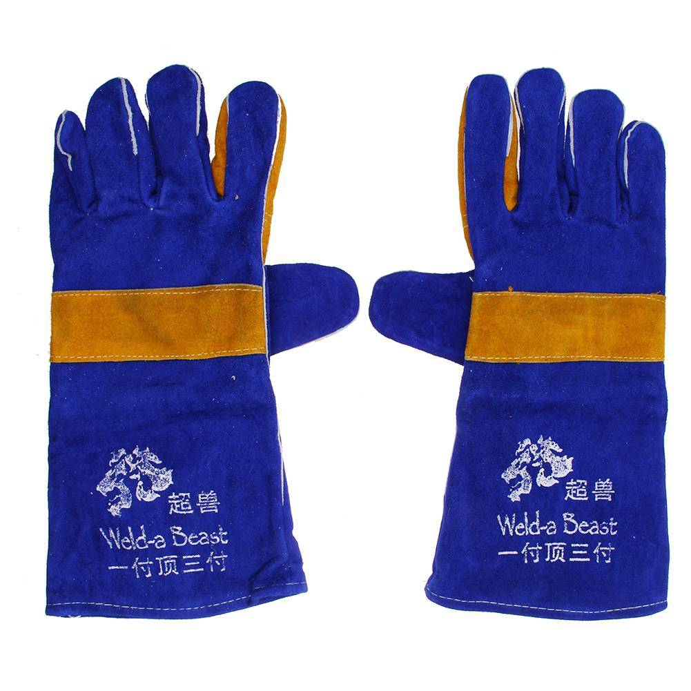 Heavy Duty Leather Welding Gloves 500℃ Fire Resistant Welders Gloves