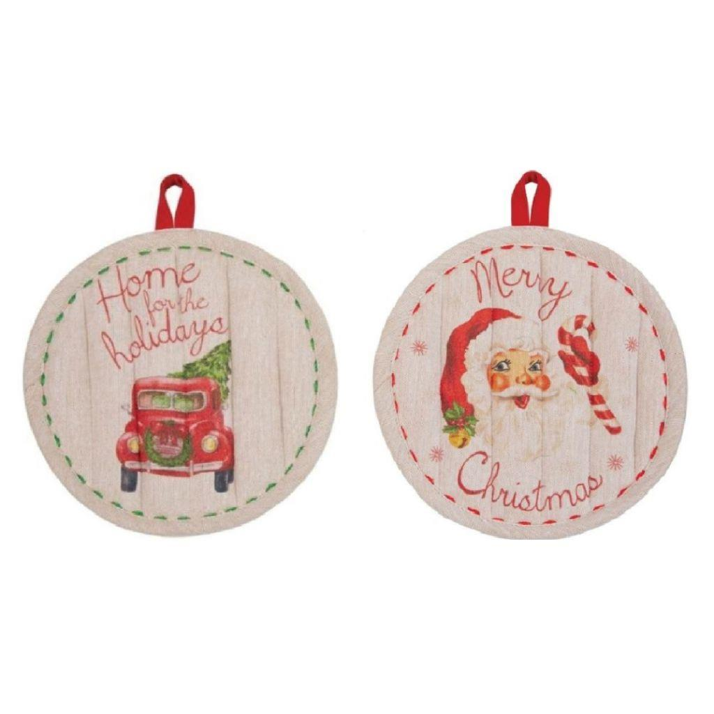 Mud Pie Vintage Red Truck Santa Kitchen Hot Mitt Pot Holder Set of 2