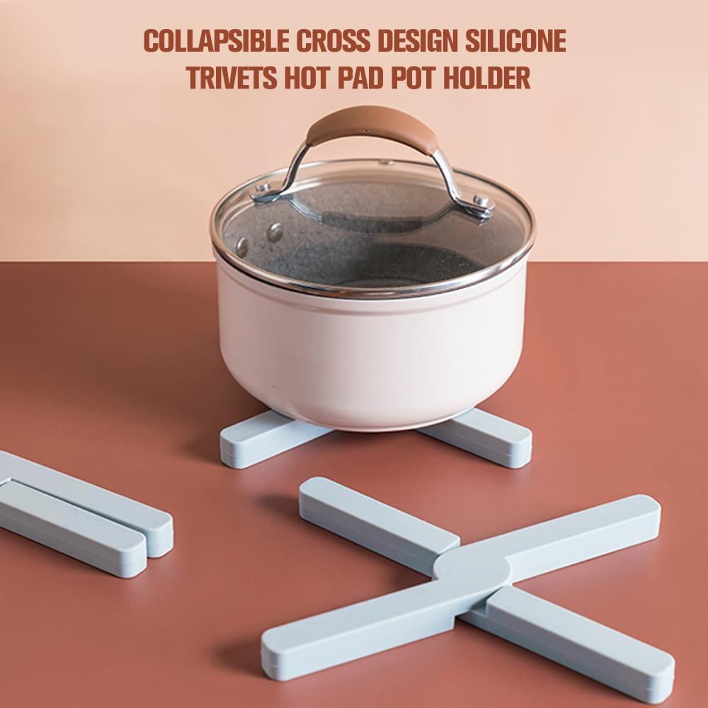 Collapsible Cross Design Silicone Trivets Hot Pad Pot Holder