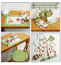 Apron; Hot Pads; Pot Holders; Place Mat; Napkin and Seat Cus-All Sizes in One Envelope