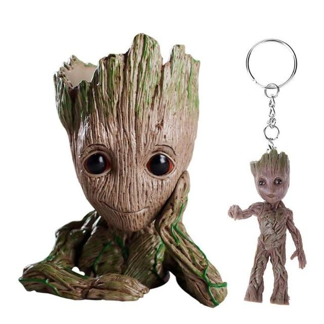 2pcs/set PVC Groot Baby Flowerpot Cute Action Figures Model Toys Pen Pot Holder Hero Model Gifts for Kids Keychain Pendant Doll