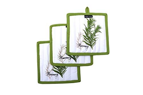 Amour Infini Pot Holders, Unique Herb Garden Design, Pot Holders Heat Resistant, 100% Cotton, Set of 3, Pot Holder size 8 x 8 inches
