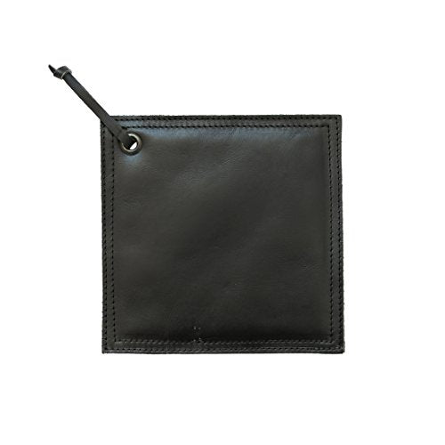 Hide & Drink Leather Hot Pot Pad (Potholder), Double Layered, Double Stitched and Handmade Black