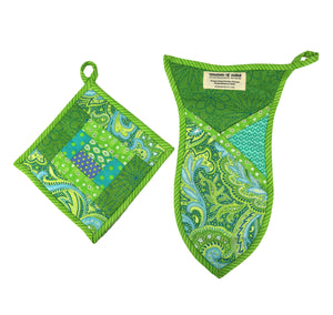 Teal Paisley Pot Holder and Oven Mitt Set - Haiti