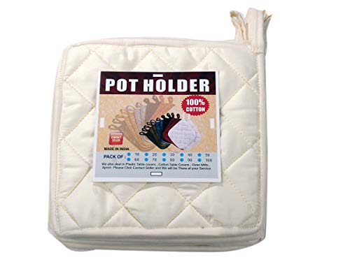 "HM Covers Well-Made of Durable and Comfortable 100% Cotton 9"" x 9"" Inches Pot Holder Non-Slip & Highest Protection & Performance Color - Ivory Color - { Pack of 40 } - Made"