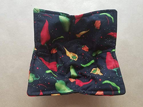 Chili Pepper Microwave Bowl Cozy Southwestern Reversible Microwaveable Potholder Hot Pepper Handmade Bowl Buddy Kitchen Linens Baker Chef Teacher Gifts Spicy Food Lover Gift Under 10
