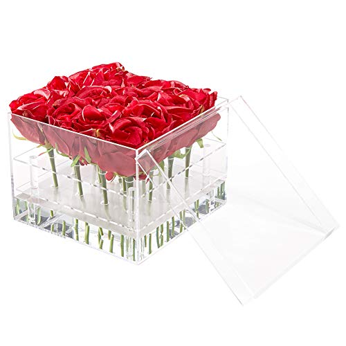 Flower Box Water Holder, Acrylic Rose Pots Stand - Decorative Square Vase with Removable 2 Tiers - Valentine's Day, Mother's Day, Birthday Gift, 16 Holes