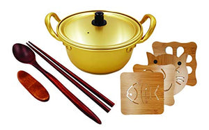 Happy Household Korean Noodle Ramen Pot 6.3 (16cm) + Wooden Chopstick + Pot Holder or (Pot + 1 Chopstick + Pot holder (flower))