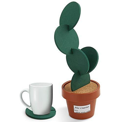 Drhob Flee 6-Piece Green Coaster Set with Flower Pot Shaped Holder for Drinks,Coffee,Cup