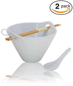 (2-Pack) Porcelain Noodle Soup Bowl with Bamboo Chopsticks and Ceramic Spoon (20 oz Bowl)- Perfect Bowls for Ramen Soup Noodles Cereal Pho Popcorn Oatmeal - Dishwasher Microwave Safe